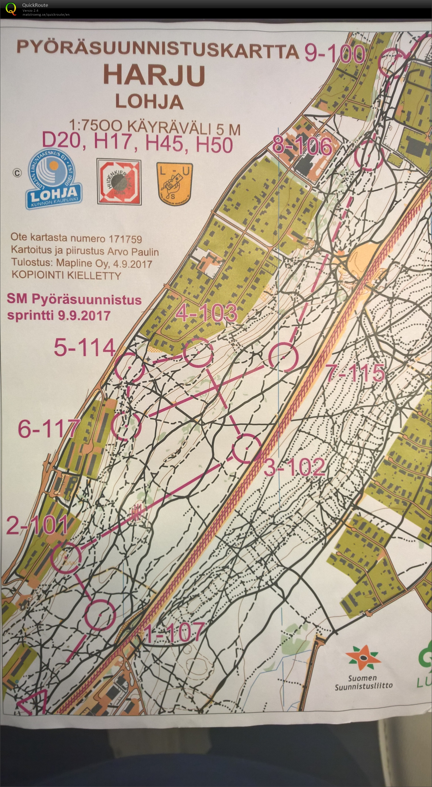 SM sprintti pysu September 9th 2017 Orienteering Map from Janne